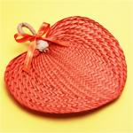 Orange Palm Leaf Hand Fans - 10 pieces