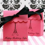 Paris Personalized Scalloped Favor Bags