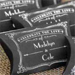Personalized Chalkboard Pillow Favor Boxes - 50 pieces