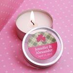 Gingham Irish Personalized Candle Favors