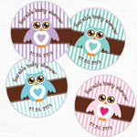 Owl - Stripes Personalized Round Labels - 20 pcs