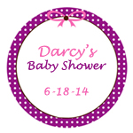 Polka Dots and Bows Personalized Round Stickers