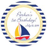 Sailboat Personalized Round Labels - 20 pieces