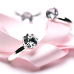 Silver Engagement Rings Favor Accents - 12 pcs