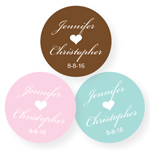 Single Heart Personalized Round Labels - 20 pieces