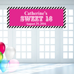 Stripes Sweet Sixteen Personalized Banner