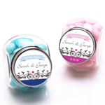 Tandem Bike Personalized Mini Glass Candy Jars