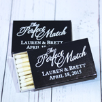 The Perfect Match Personalized Matchboxes - White Print - 50pcs