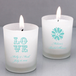 Tiffany Blue Personalized Frosted Glass Candle Holder
