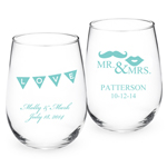 Tiffany Blue Personalized Stemless Wine Glass - Exclusive