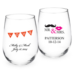 Two Color Personalized Stemless Wine Glass - Exclusive