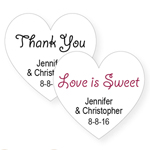 White Heart Personalized Labels - 20 pieces