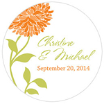 Zinnia Blooms Round Personalized Stickers