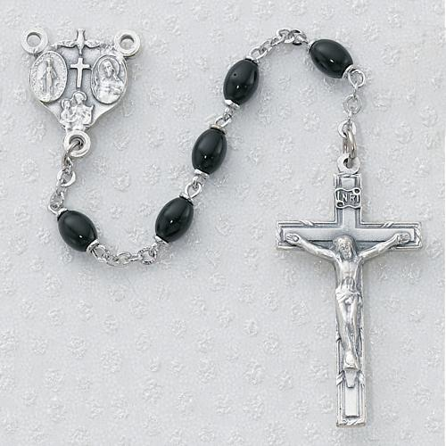 4X6MM BLACK GLASTERLING SILVER ROSARY
