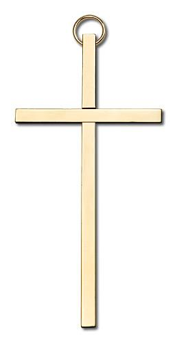 4-inch Plain Polished Brass Cross