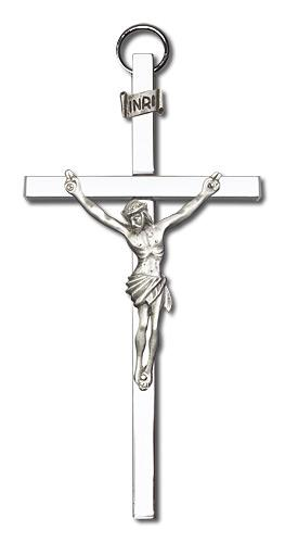 4-inch Silver Crucifix Silver Finish Cross