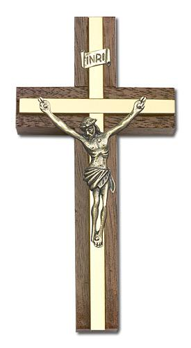 4-inch Gold Crucifix, Walnut w/ Polished Brass inlay