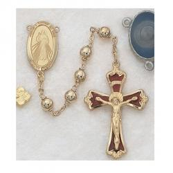 GOLD-PLATED 6MM DIVINE MERCY ROSARY