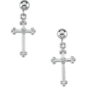 Cross And Ball Dangle Earring - 14K White Gold - Pair