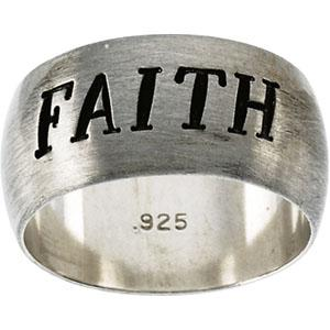 Sterling Silver Antiqued Half Round Faith Ring