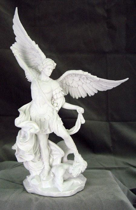 St. Michael - Veronese, in white resin without black base, 10 inch