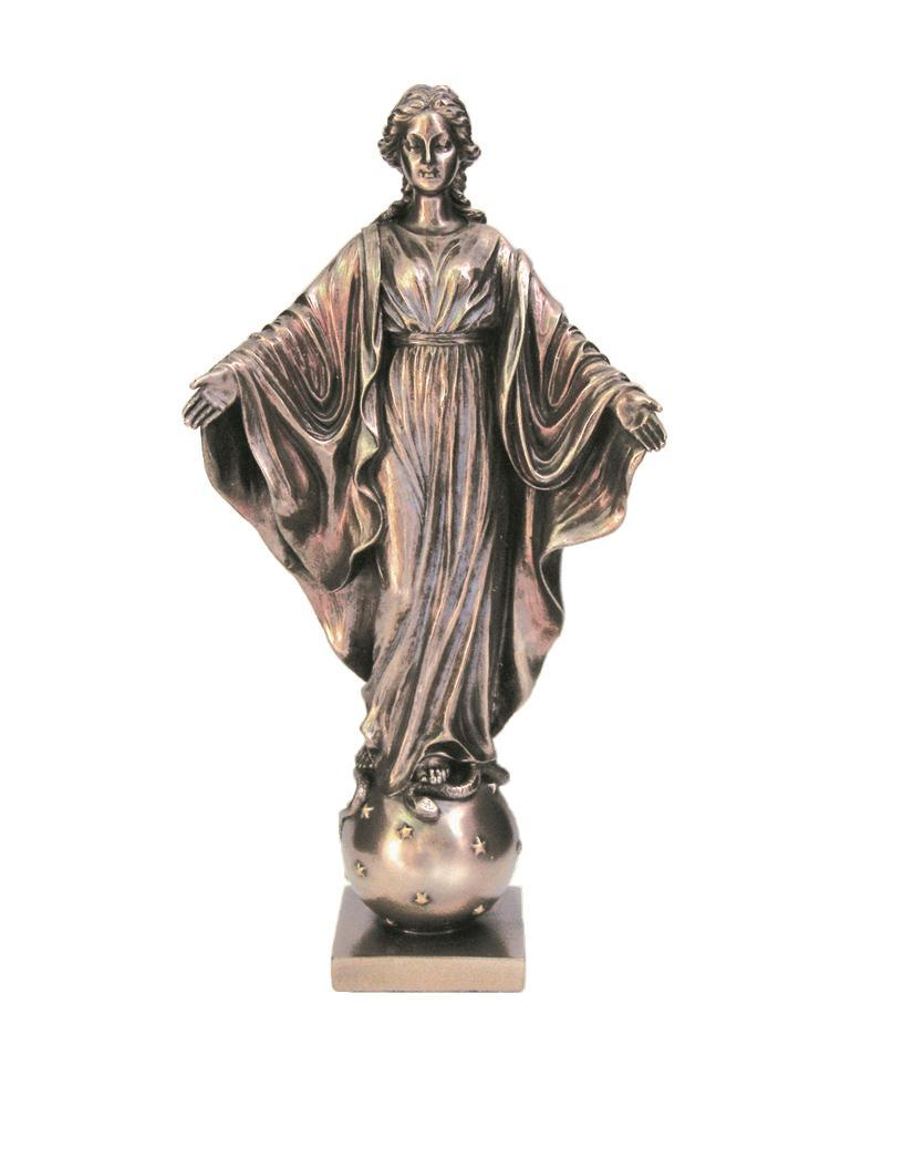 Our Lady of the Smiles - Veronese, bronzed resin, lightly hand-painted, 9 inch