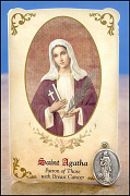 Saint Agatha Healing Holy Card and Medal -- Breast Cancer