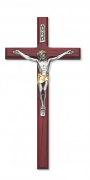 Cherry Stained Crucifix with Two Tone Corpus - 10 Inch