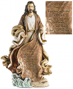 Christ with Footprints in the Sand Figurine - 12 inch