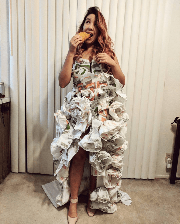 A Woman Makes Herself a Wedding Dress Out of Taco Bell Wrappers