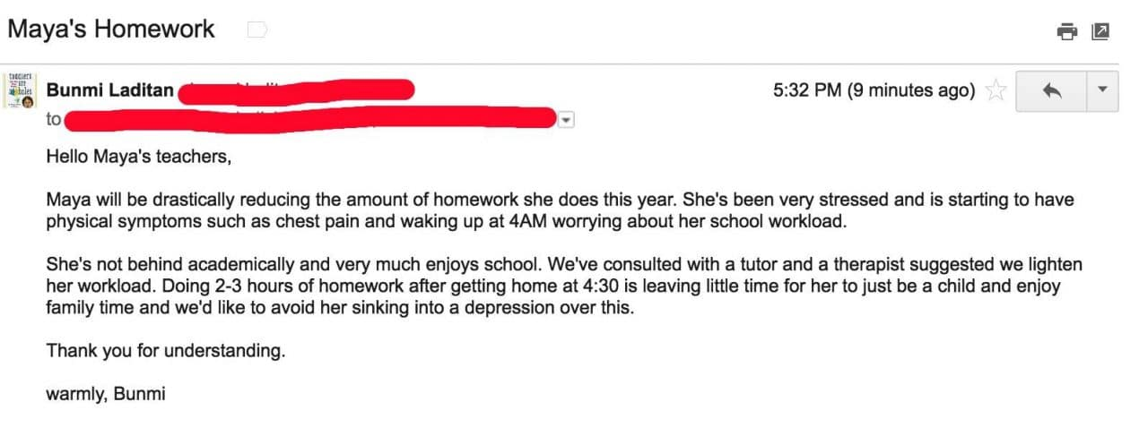 A Mom Emails Her Daughter's School to Say She's Done Doing Homework