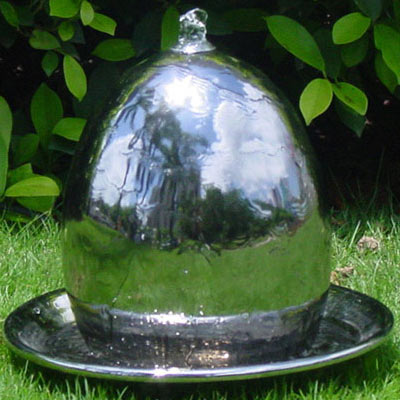 Steel Effect Ceramic Egg Water Feature With LED Lights Large