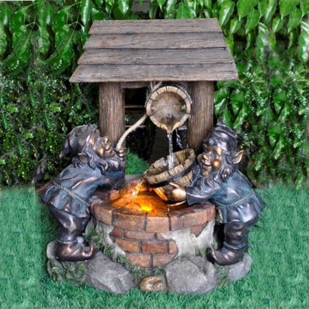 2 Gnomes at Wishing Well Water Feature
