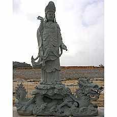 Granite Buddha stood on Dragon Sculpture