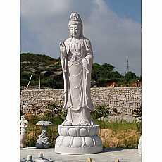 Granite Protection Buddha on Lotus Flower Pedestal Sculpture (2)