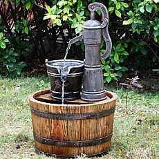 Pump on Wooden Barrel