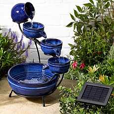 Smart Solar Neptune Blue Ceramic Solar Cascade Water Feature