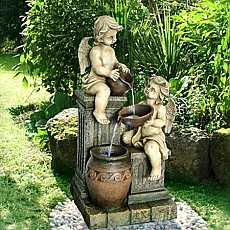 2 Angels with Spilling Urns Water Feature