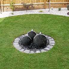 Solar Powered Granite Trio Water Feature With LED Lights