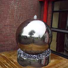 Aterno7 - 75cm Diameter Polished Stainless Steel Sphere Water Feature With Steel Base And LED Lights