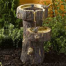 Treetrunk Birdbath by Smart Solar
