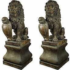 Henri Studios Classic Twin Lion With Pedestal in Relic Lava Statue