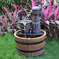 Aqua Moda Solar Pump on Wooden Barrel Water Feature