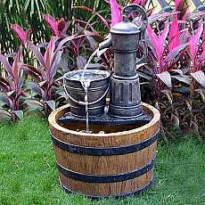 Aqua Moda Solar Pump on Wooden Barrel Water Feature