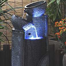 Solar Stone Pillar and Bowls Water Feature Fountain with LED light