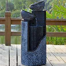 Stone Pillar and Bowls Water Feature Fountain with LED light