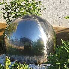 Aterno6 - 60cm Diameter Polished Solar Stainless Steel Sphere Water Feature With LED Lights