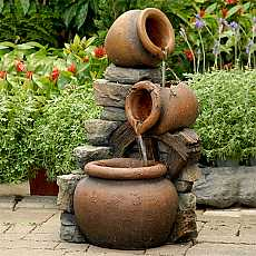 Solar Powered Cascading Bowl Spilling Urns with Wheel Water Feature With LED Lights
