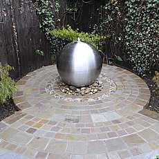 Solar Powered Aterno3 28cm Brushed Stainless Steel Sphere Water Feature With LED Lights