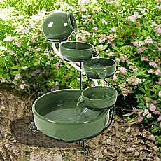 Solar Powered Green Terracotta Cascade Water Feature
